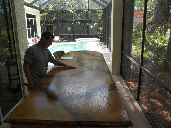 Concrete counter tops with acid stain and acrylic sealer